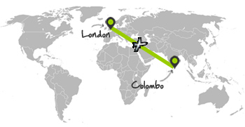 london-colombo flight map